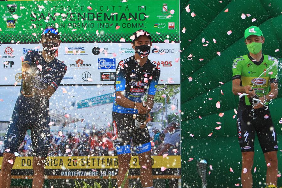 21/09/2020 - San Vendemiano (Tv) - 13 Trofeo Citta di San Vendemiano  - 1.2 Under 23 - nella foto: il podio con Kevin Colleoni (Biesse Arvedi), Antonio Tiberi (Colpack Ballan) e Matteo Baseggio (General Store)© Riccardo Scanferla - Photors.it
