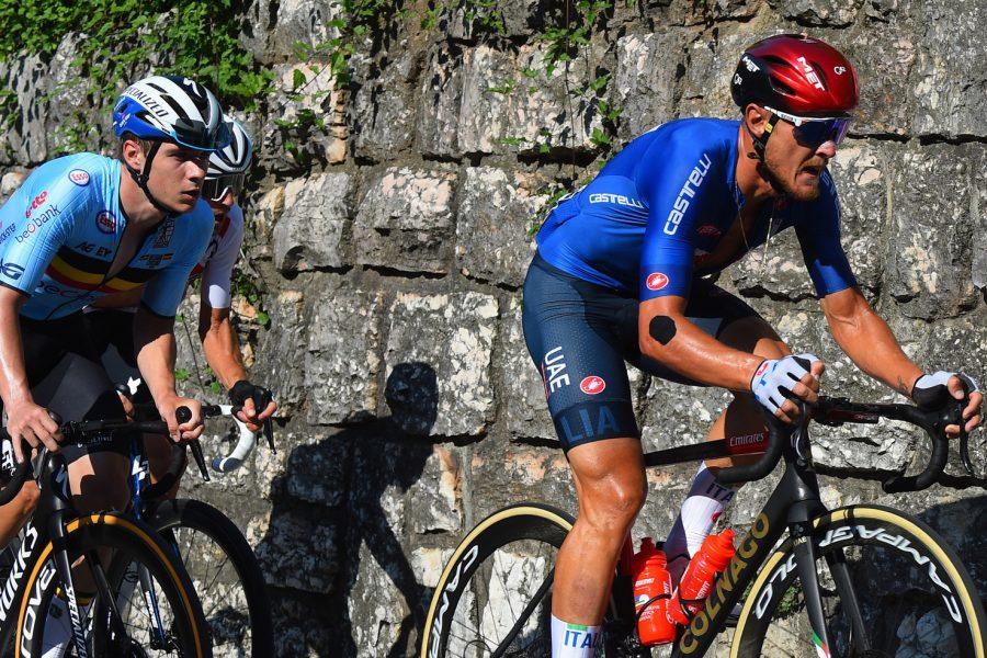 2021 UEC Road European Championships - Trento - Elite Men's Road Race Trento - Trento  179,2 km - 12/09/2021 - Matteo Trentin (Italy) - Remco Evenepoel (Belgium) - photo Dario Belingheri/BettiniPhoto©2021